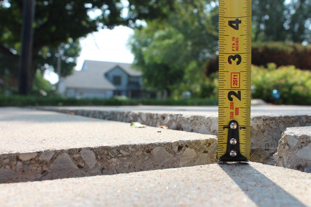 Uneven concrete slab ready for polyurethane slab leveling